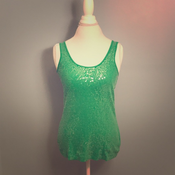 0db0c72a Express Tops - 🍀 Express Sequin Green Tank Top